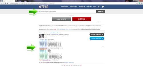 KeepVid Odabir formata i download