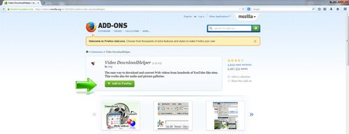 Video DovnloadHelper Mozilla Firefox Add-one