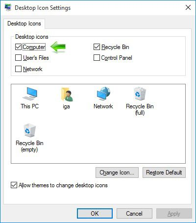Kako dodati My Computer ikonicu na Windows 10 Desktop - Desktop Icon Settings