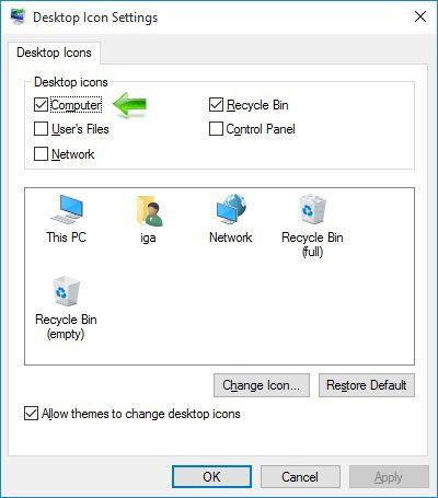 Kako dodati This PC (My Computer) ikonicu na Windows 10 Desktop - Desktop Icon Settings