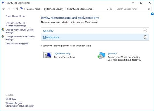 Windows Reliability Monitor - Maintenance