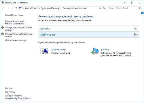 Windows Reliability Monitor - Maintenance