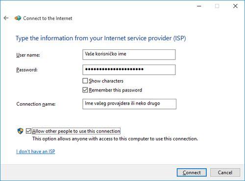 Kako napraviti PPPoE konekciju u Windows -u 10 - Korisničko ime i šifra