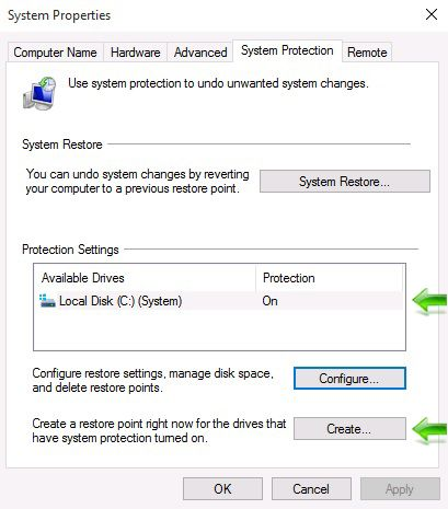 Windows 10 System Restore - Create Restore Point