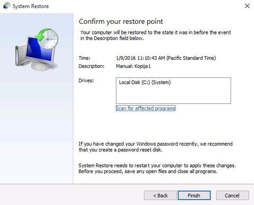 Windows 10 System Restore - Finish