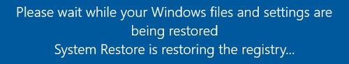 Windows 10 System Restore - Registry