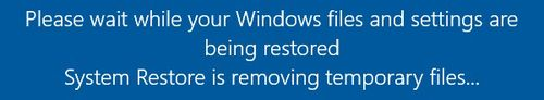 Windows 10 System Restore - Remove temporary files