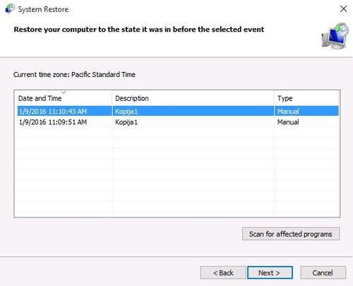 Windows 10 System Restore - manual