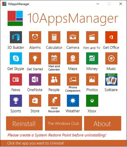 10AppsManager za Windows 10 - prozor