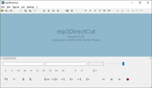 mp3DirectCut - osnovni prozor