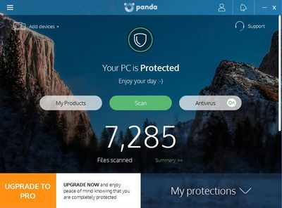 Panda antivirus - main window