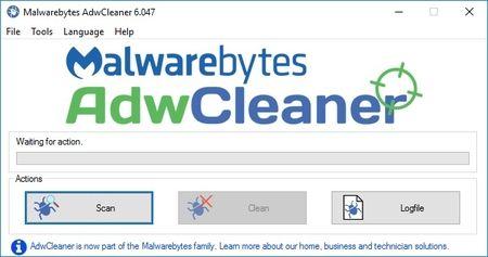 AdwCleaner - glavni prozor